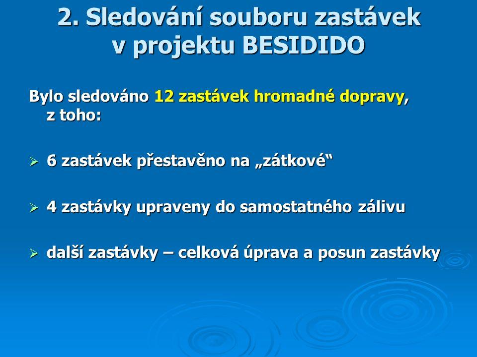 """2. Sledování souboru zastávek v projektu BESIDIDO Bylo sledováno 12 zastávek hromadné dopravy, z toho:  6 zastávek přestavěno na """"zátkové""""  4 zastáv"""