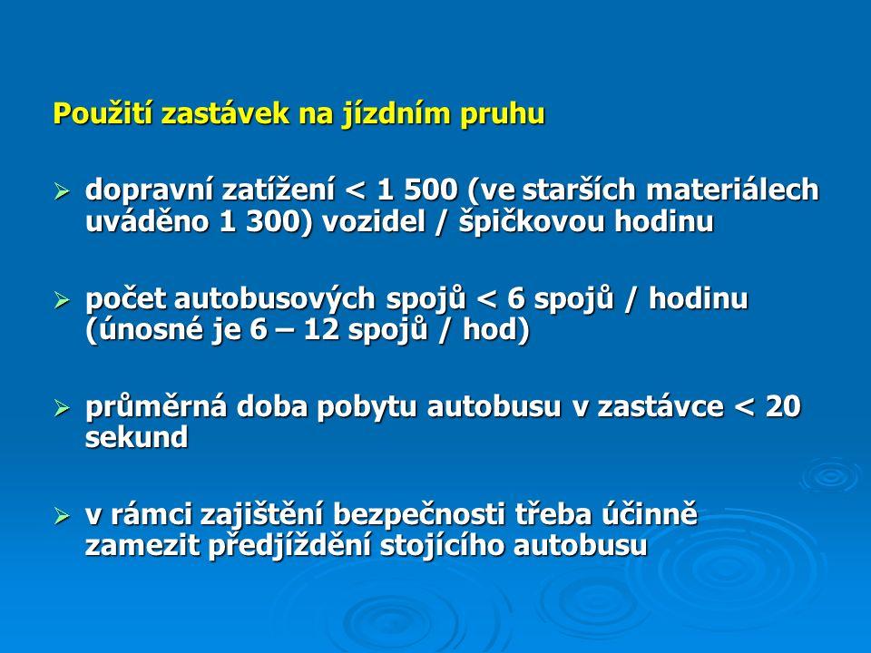 Schéma běžného provedení zastávky se zvýšenou vozovkou (příčný řez)