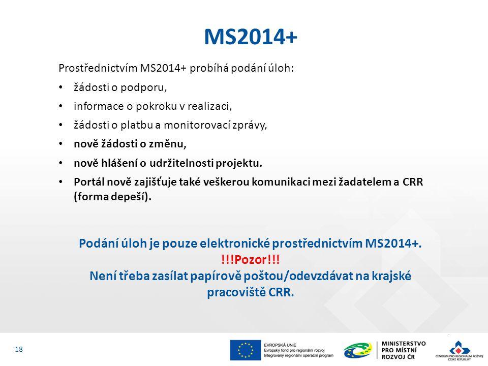 Prostřednictvím MS2014+ probíhá podání úloh: žádosti o podporu, informace o pokroku v realizaci, žádosti o platbu a monitorovací zprávy, nově žádosti o změnu, nově hlášení o udržitelnosti projektu.