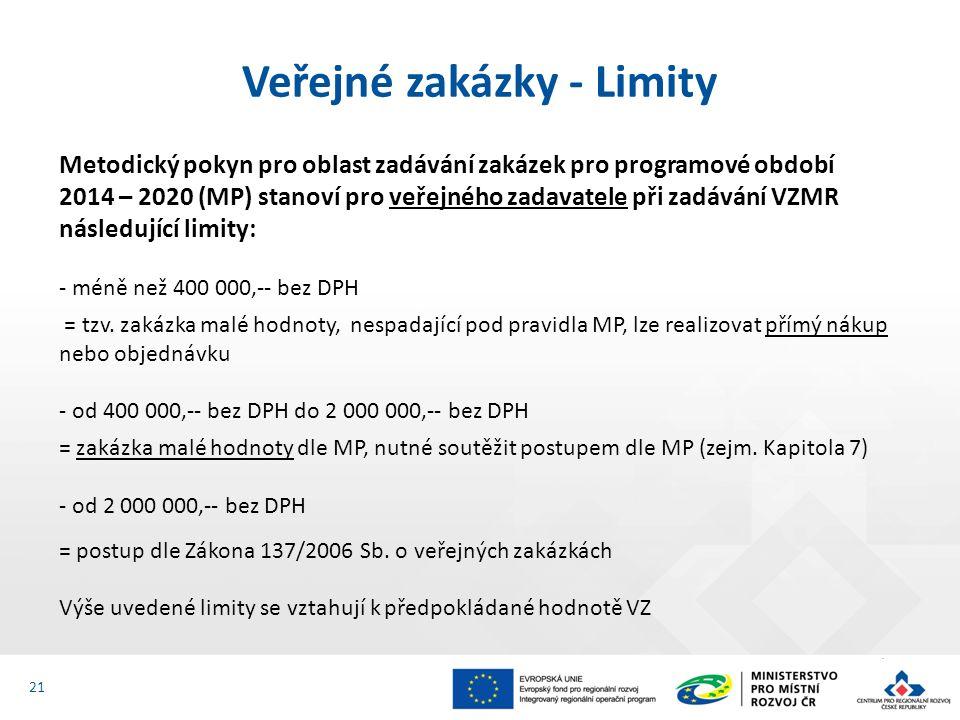 21 Metodický pokyn pro oblast zadávání zakázek pro programové období 2014 – 2020 (MP) stanoví pro veřejného zadavatele při zadávání VZMR následující limity: - méně než 400 000,-- bez DPH = tzv.