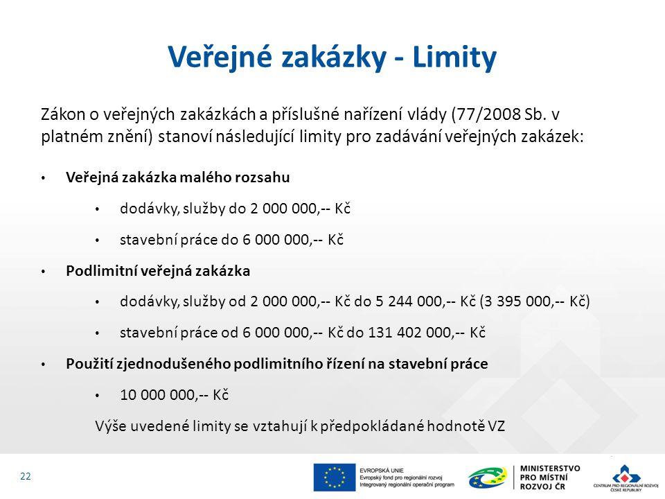 22 Zákon o veřejných zakázkách a příslušné nařízení vlády (77/2008 Sb.