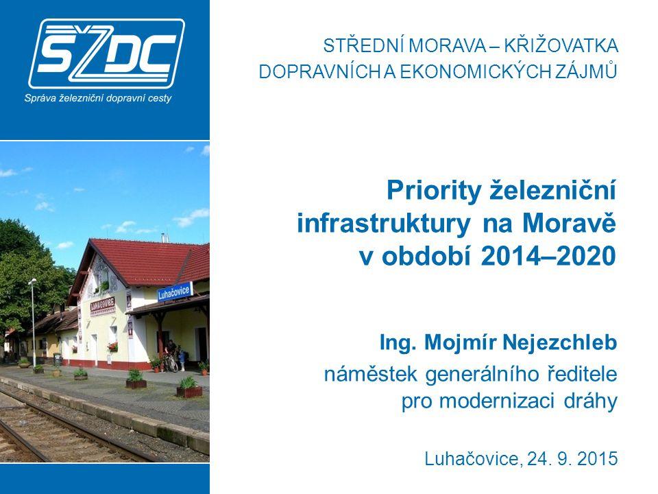 Priority železniční infrastruktury na Moravě v období 2014–2020 2 Morava – důležitá železniční křižovatka V segmentu osobní i nákladní dopravy tvoří region Moravy klíčové spojnice ve směru sever – jih i západ – východ, základním stavebním kamenem rozvoje železniční infrastruktury je dokončení modernizace zbývajících částí tranzitních železničních koridorů, zkapacitnění, zvýšení rychlosti a elektrizace tratí pro dálkovou a především regionální dopravu snaha o včasnou realizaci tratí rychlých spojení se sousedními kraji i Prahou a Brnem, výstavba nových zastávek.