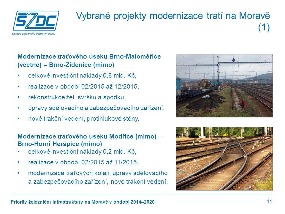 Priority železniční infrastruktury na Moravě v období 2014–2020 11 Vybrané projekty modernizace tratí na Moravě (1) Modernizace traťového úseku Brno-Maloměřice (včetně) – Brno-Židenice (mimo) celkové investiční náklady 0,8 mld.