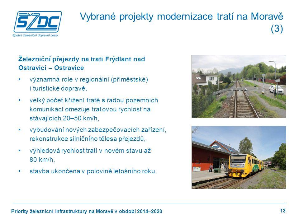 Priority železniční infrastruktury na Moravě v období 2014–2020 13 Železniční přejezdy na trati Frýdlant nad Ostravicí – Ostravice významná role v regionální (příměstské) i turistické dopravě, velký počet křížení tratě s řadou pozemních komunikací omezuje traťovou rychlost na stávajících 20–50 km/h, vybudování nových zabezpečovacích zařízení, rekonstrukce silničního tělesa přejezdů, výhledová rychlost trati v novém stavu až 80 km/h, stavba ukončena v polovině letošního roku.