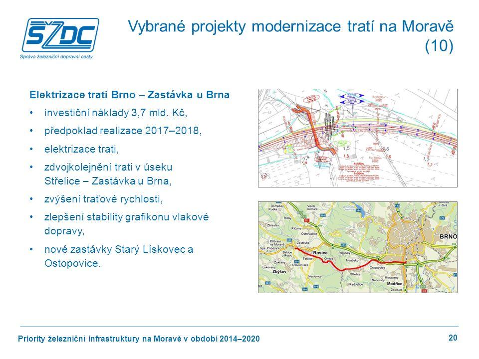 Priority železniční infrastruktury na Moravě v období 2014–2020 20 Elektrizace trati Brno – Zastávka u Brna investiční náklady 3,7 mld.