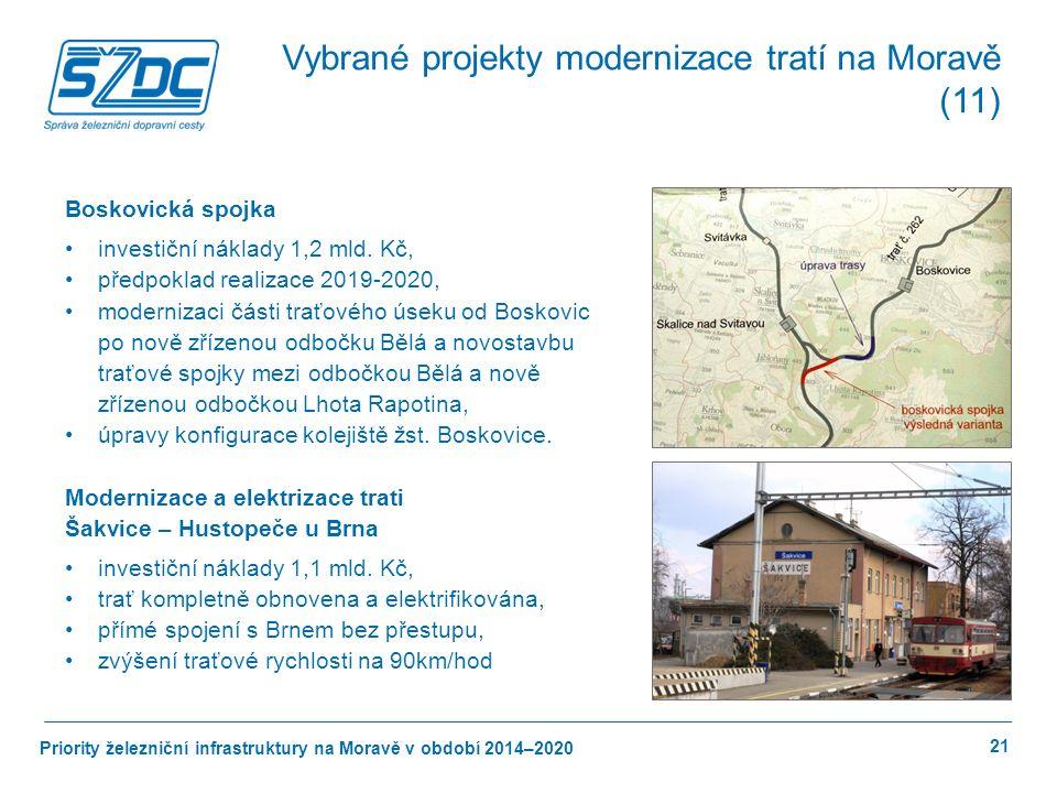 Priority železniční infrastruktury na Moravě v období 2014–2020 21 Boskovická spojka investiční náklady 1,2 mld.