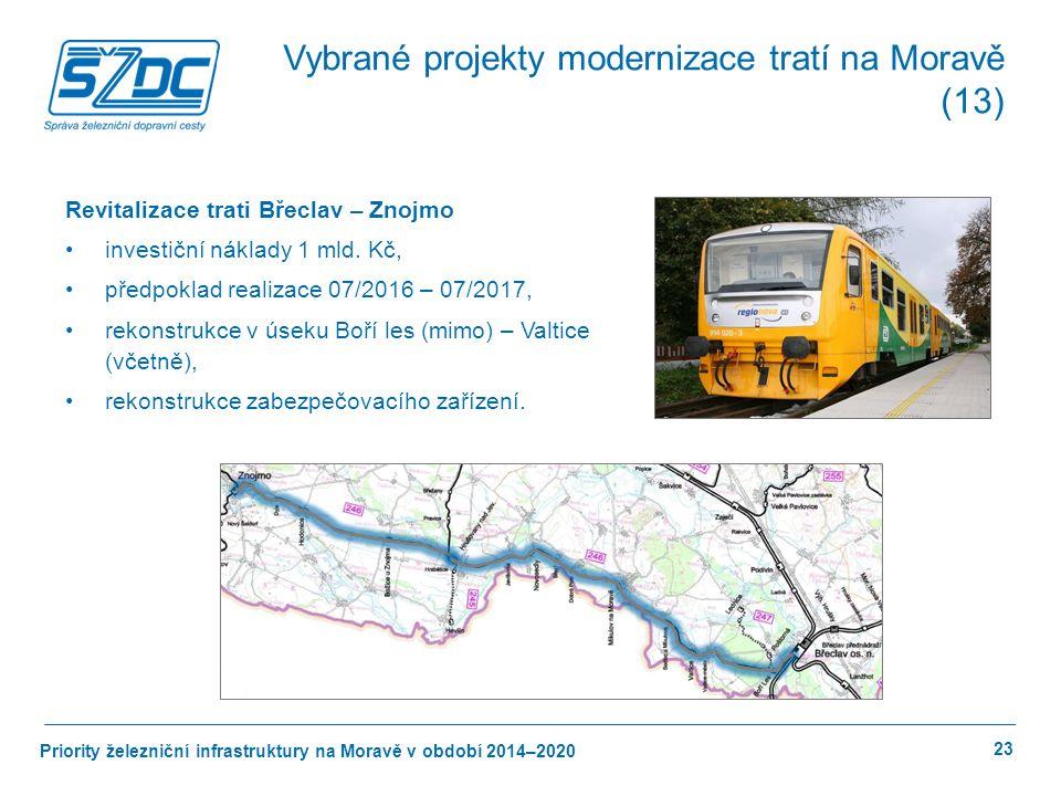 Priority železniční infrastruktury na Moravě v období 2014–2020 23 Revitalizace trati Břeclav – Znojmo investiční náklady 1 mld.