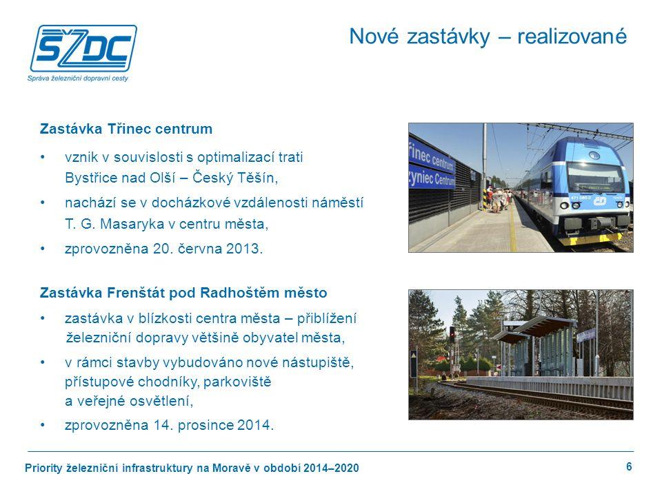 Priority železniční infrastruktury na Moravě v období 2014–2020 7 Výstavba zastávky Ostrava-Zábřeh investiční náklady 55 mil.