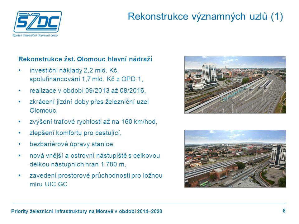 Priority železniční infrastruktury na Moravě v období 2014–2020 9 Rekonstrukce žst.