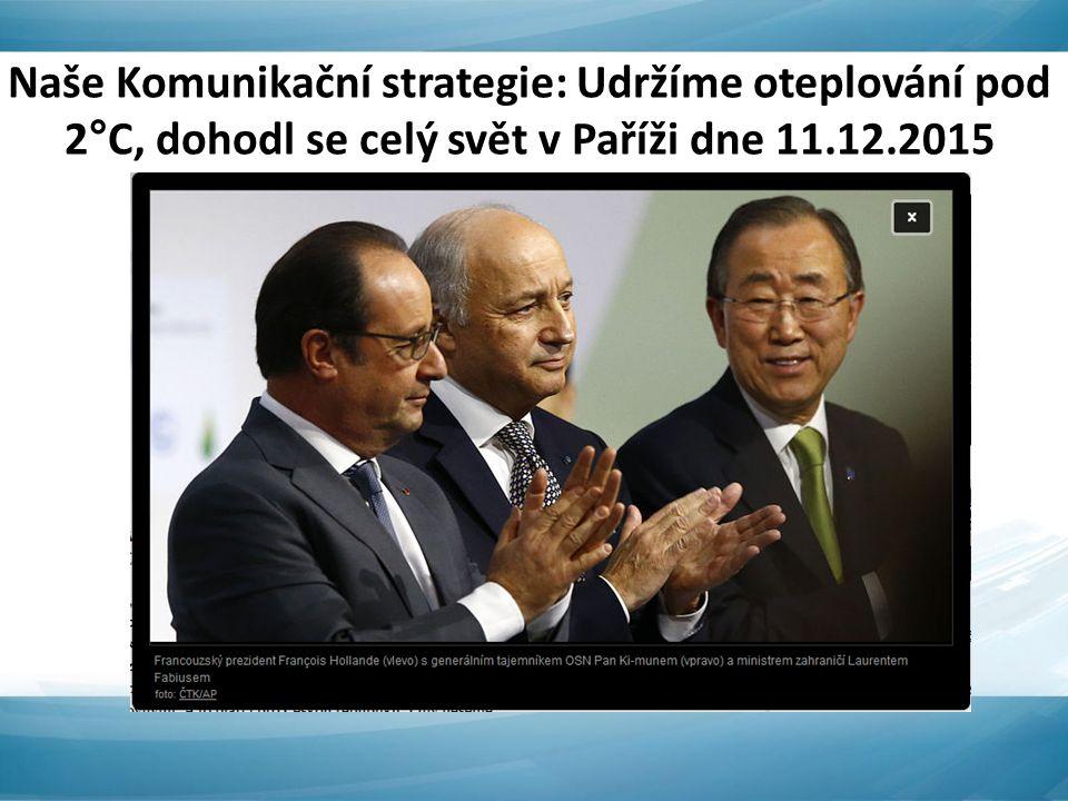 Naše Komunikační strategie: Udržíme oteplování pod 2°C, dohodl se celý svět v Paříži dne 11.12.2015