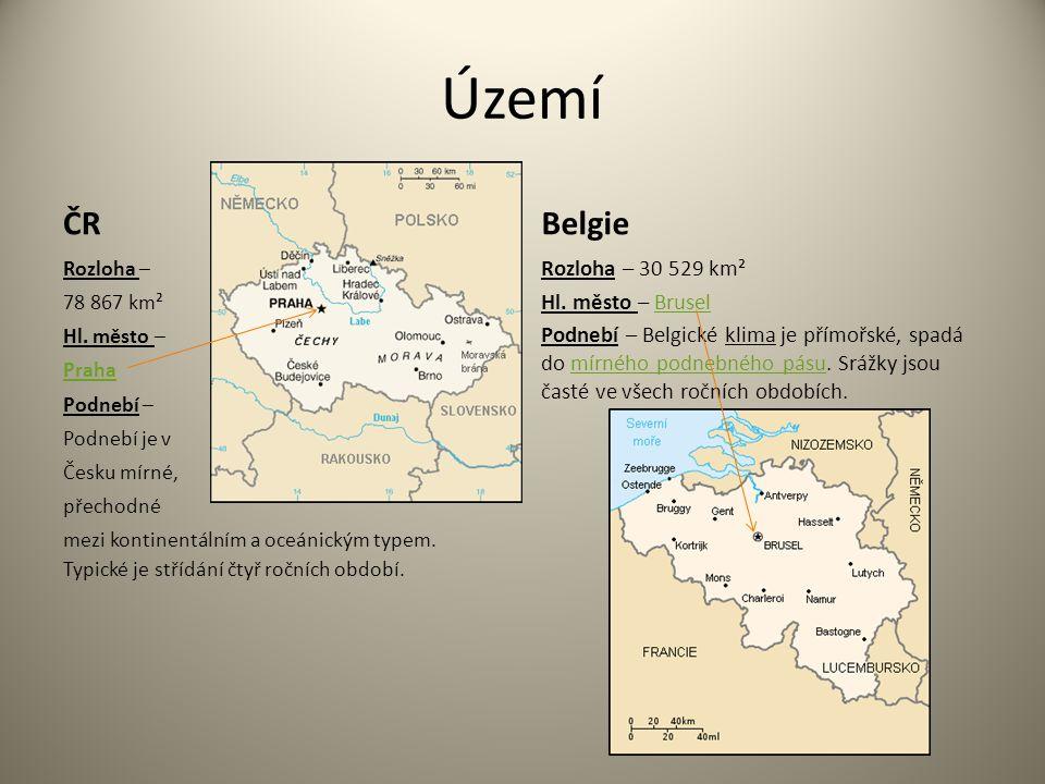 Území ČR Rozloha – 78 867 km² Hl. město – Praha Podnebí – Podnebí je v Česku mírné, přechodné mezi kontinentálním a oceánickým typem. Typické je stříd
