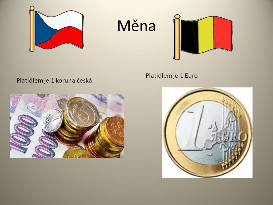 Měna Platidlem je 1 koruna česká Platidlem je 1 Euro