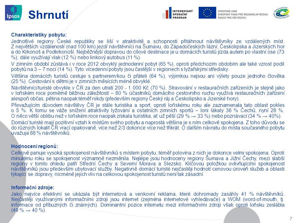 Shrnutí 7 Charakteristiky pobytu: Jednotlivé regiony České republiky se liší v atraktivitě a schopnosti přitáhnout návštěvníky ze vzdálených míst. Z n