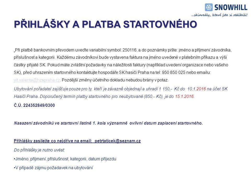STARTOVNÉ – dvoudenní pobyt STARTOVNÉ – dvoudenní pobyt Startovné u dvoudenního pobytu (24.1.