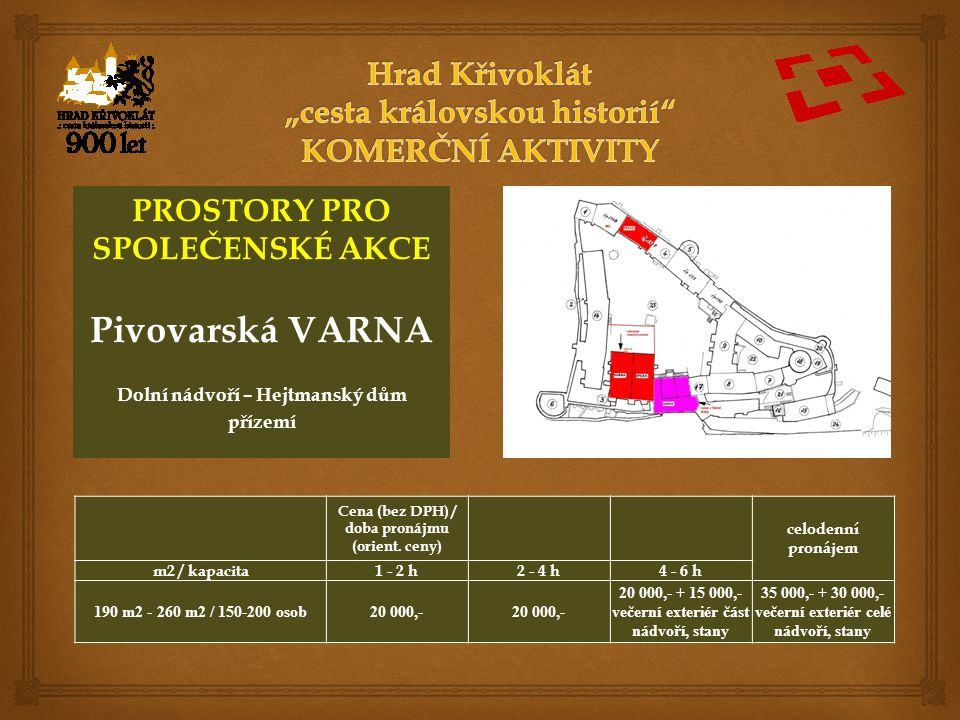 PROSTORY PRO SPOLEČENSKÉ AKCE Pivovarská VARNA Dolní nádvoří – Hejtmanský dům přízemí Cena (bez DPH) / doba pronájmu (orient.