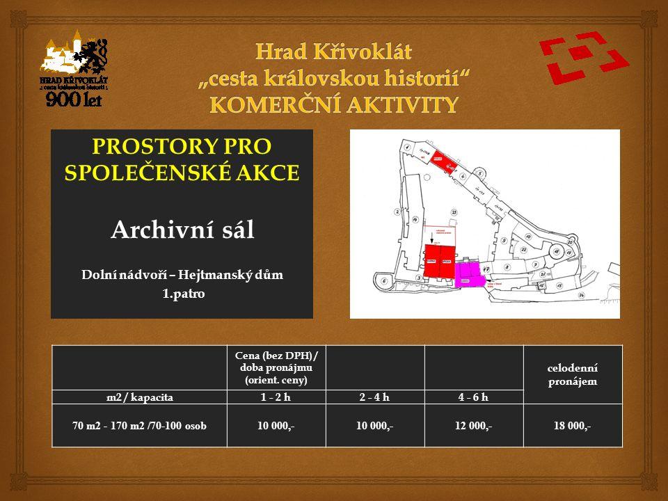 PROSTORY PRO SPOLEČENSKÉ AKCE Archivní sál Dolní nádvoří – Hejtmanský dům 1.patro Cena (bez DPH) / doba pronájmu (orient.