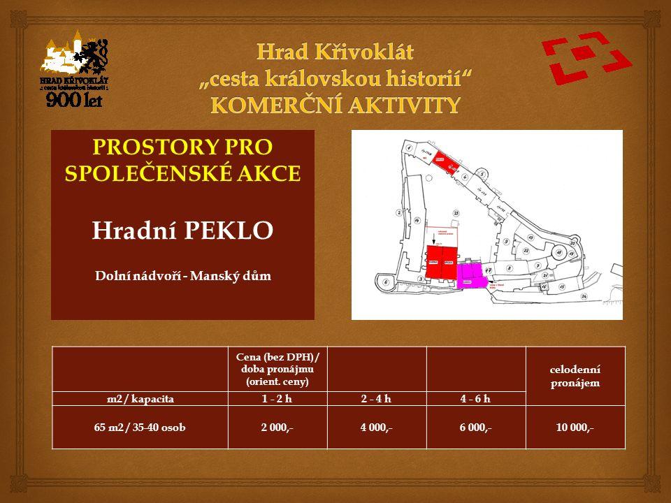 PROSTORY PRO SPOLEČENSKÉ AKCE Hradní PEKLO Dolní nádvoří - Manský dům Cena (bez DPH) / doba pronájmu (orient.