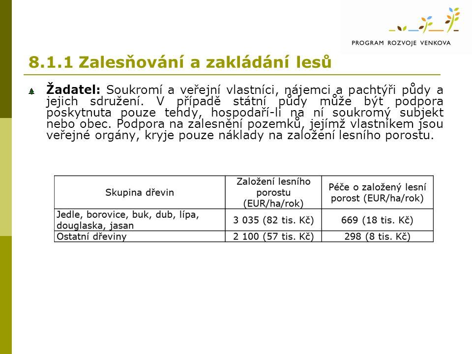 8.1.1 Zalesňování a zakládání lesů Žadatel: Soukromí a veřejní vlastníci, nájemci a pachtýři půdy a jejich sdružení.