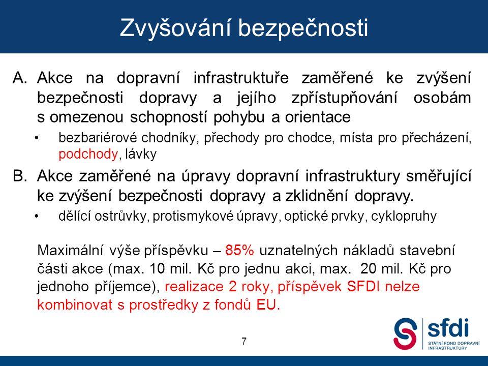 Zvyšování bezpečnosti 7 A.Akce na dopravní infrastruktuře zaměřené ke zvýšení bezpečnosti dopravy a jejího zpřístupňování osobám s omezenou schopností