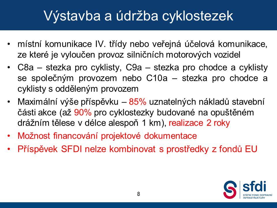 Výstavba a údržba cyklostezek 8 místní komunikace IV. třídy nebo veřejná účelová komunikace, ze které je vyloučen provoz silničních motorových vozidel