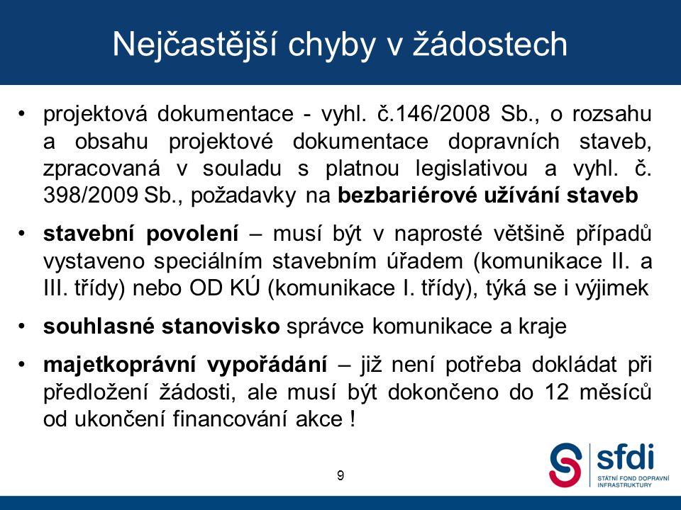 Nejčastější chyby v žádostech projektová dokumentace - vyhl. č.146/2008 Sb., o rozsahu a obsahu projektové dokumentace dopravních staveb, zpracovaná v