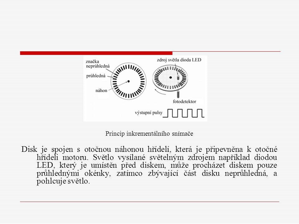 Princip inkrementálního snímače Disk je spojen s otočnou náhonou hřídelí, která je připevněna k otočné hřídeli motoru. Světlo vysílané světelným zdroj