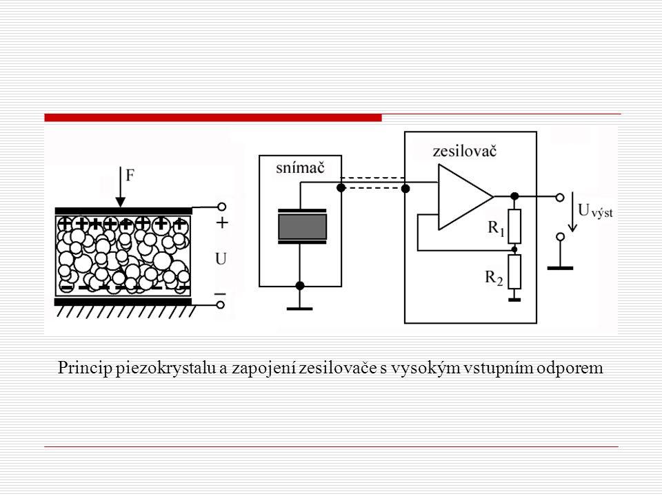 Princip piezokrystalu a zapojení zesilovače s vysokým vstupním odporem