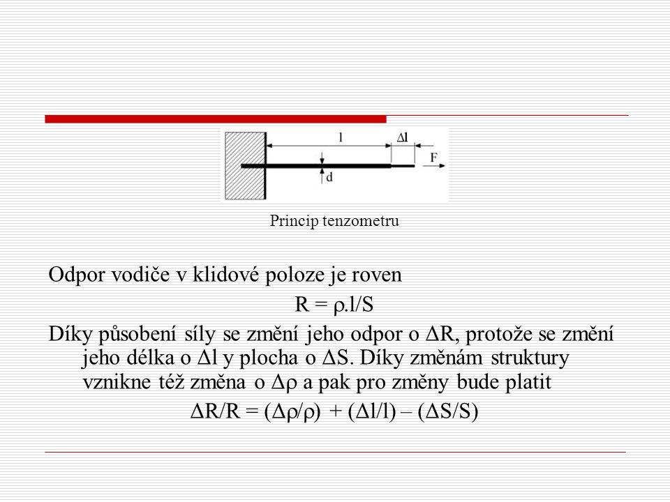 Princip tenzometru Odpor vodiče v klidové poloze je roven R = .l/S Díky působení síly se změní jeho odpor o ΔR, protože se změní jeho délka o Δl y plocha o ΔS.