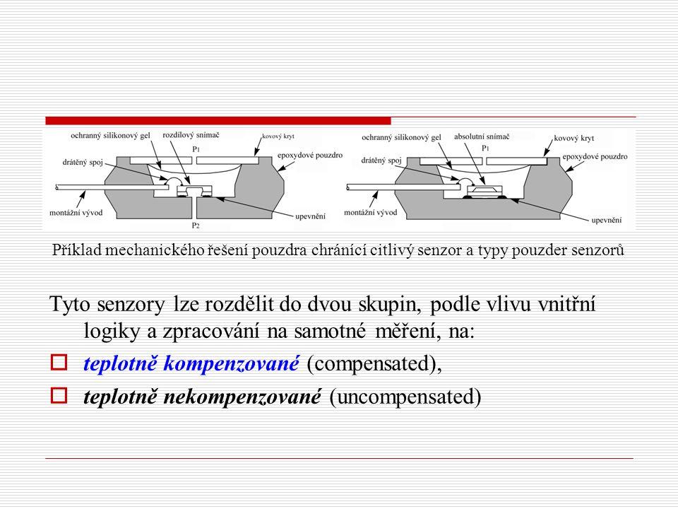 Příklad mechanického řešení pouzdra chránící citlivý senzor a typy pouzder senzorů Tyto senzory lze rozdělit do dvou skupin, podle vlivu vnitřní logiky a zpracování na samotné měření, na:  teplotně kompenzované (compensated),  teplotně nekompenzované (uncompensated)