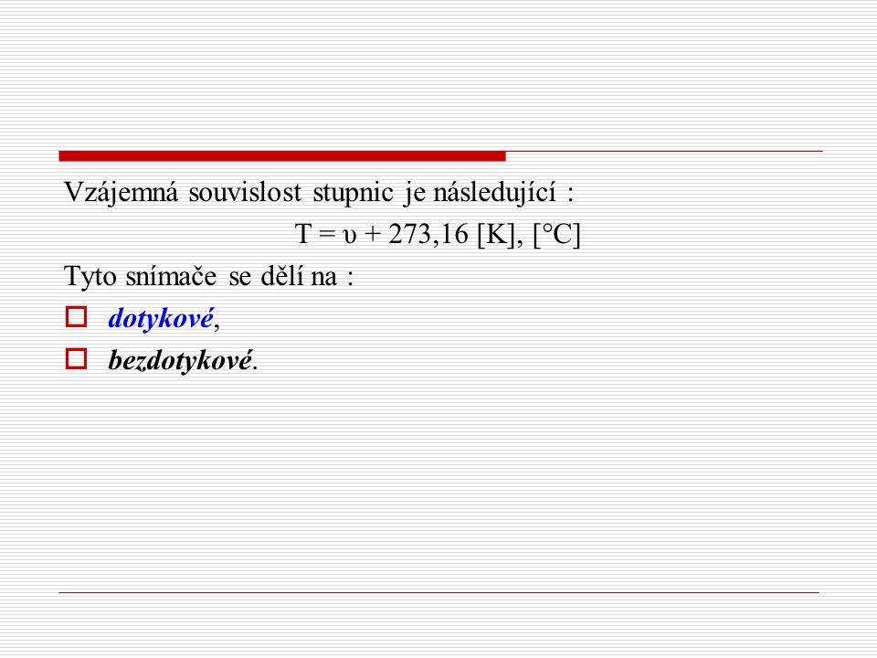 Vzájemná souvislost stupnic je následující : T = υ + 273,16 [K], [°C] Tyto snímače se dělí na :  dotykové,  bezdotykové.