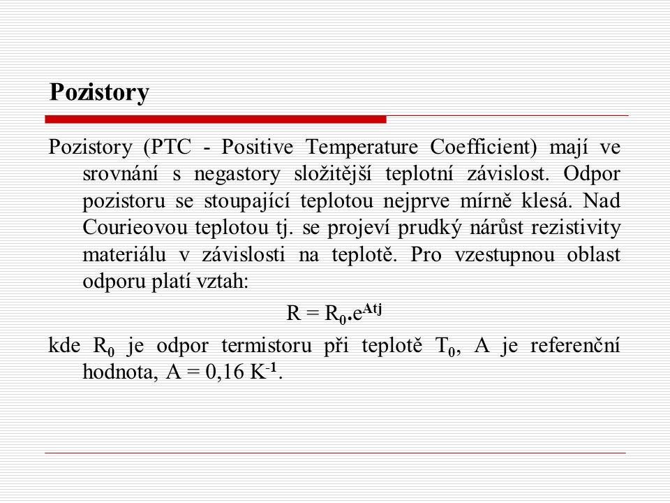Pozistory Pozistory (PTC - Positive Temperature Coefficient) mají ve srovnání s negastory složitější teplotní závislost. Odpor pozistoru se stoupající
