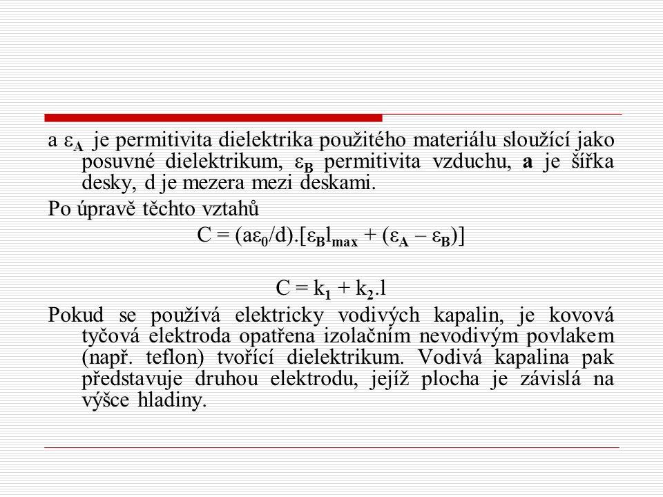 a  A je permitivita dielektrika použitého materiálu sloužící jako posuvné dielektrikum,  B permitivita vzduchu, a je šířka desky, d je mezera mezi deskami.