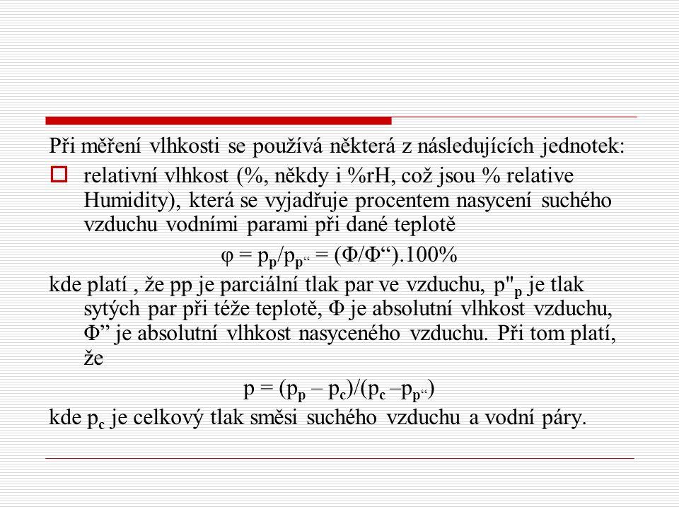 Při měření vlhkosti se používá některá z následujících jednotek:  relativní vlhkost (%, někdy i %rH, což jsou % relative Humidity), která se vyjadřuje procentem nasycení suchého vzduchu vodními parami při dané teplotě φ = p p /p p = (Φ/Φ ).100% kde platí, že pp je parciální tlak par ve vzduchu, p p je tlak sytých par při téže teplotě, Φ je absolutní vlhkost vzduchu, Φ je absolutní vlhkost nasyceného vzduchu.