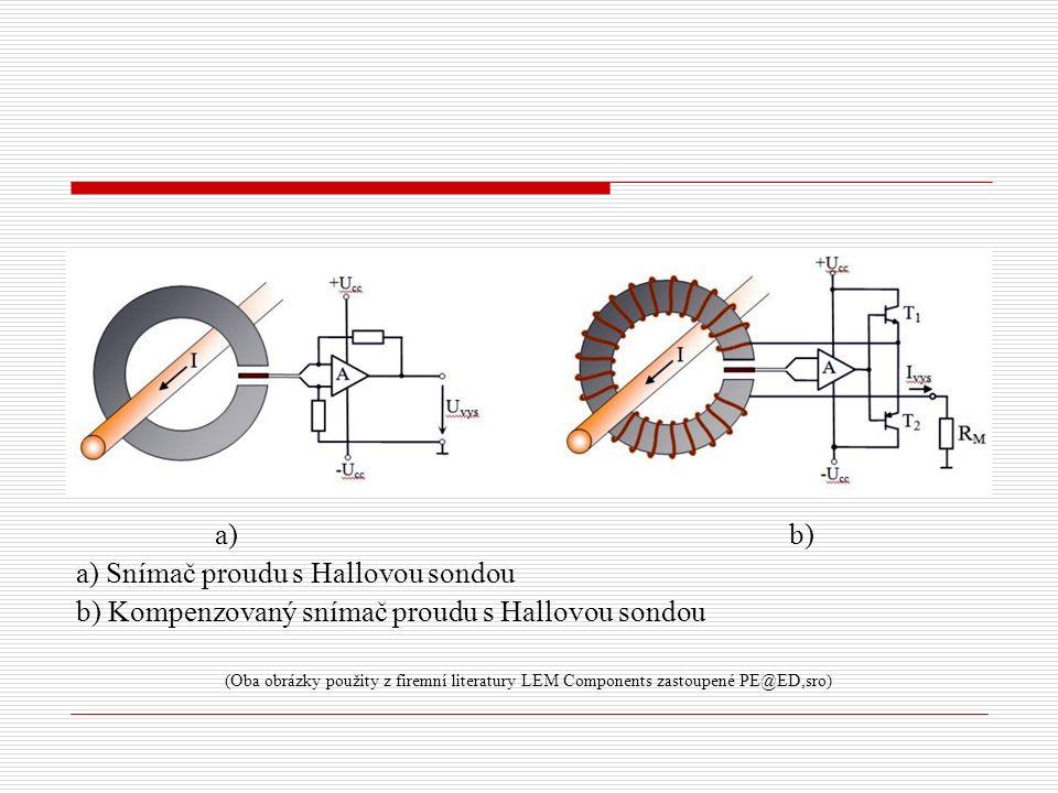 a) b) a) Snímač proudu s Hallovou sondou b) Kompenzovaný snímač proudu s Hallovou sondou (Oba obrázky použity z firemní literatury LEM Components zast