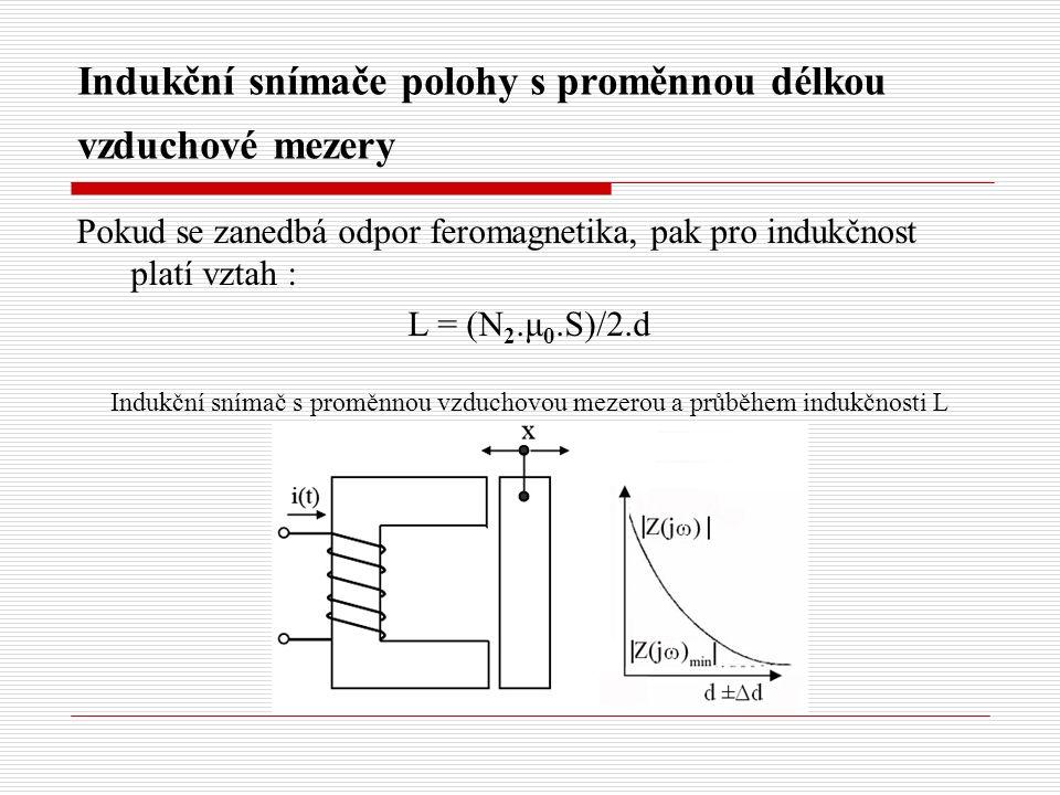 Indukční snímače polohy s proměnnou délkou vzduchové mezery Pokud se zanedbá odpor feromagnetika, pak pro indukčnost platí vztah : L = (N 2.μ 0.S)/2.d Indukční snímač s proměnnou vzduchovou mezerou a průběhem indukčnosti L