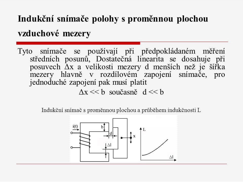 Indukční snímače polohy s proměnnou plochou vzduchové mezery Tyto snímače se používají při předpokládaném měření středních posunů, Dostatečná linearita se dosahuje při posuvech Δx a velikosti mezery d menších než je šířka mezery hlavně v rozdílovém zapojení snímače, pro jednoduché zapojení pak musí platit Δx << b současně d << b Indukční snímač s proměnnou plochou a průběhem indukčnosti L