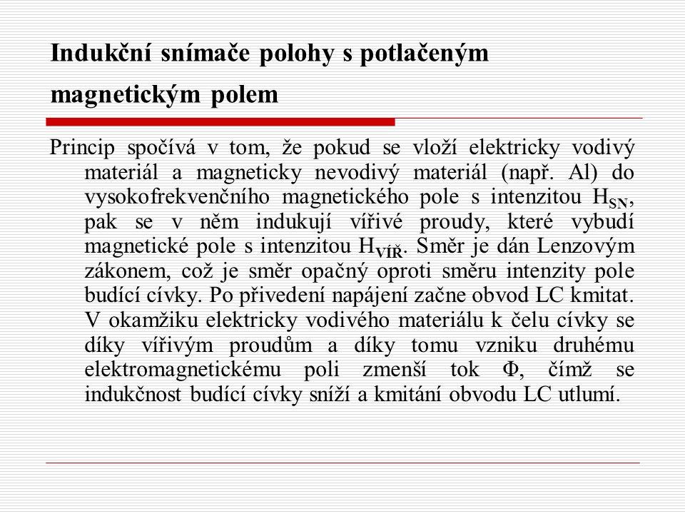 Indukční snímače polohy s potlačeným magnetickým polem Princip spočívá v tom, že pokud se vloží elektricky vodivý materiál a magneticky nevodivý mater