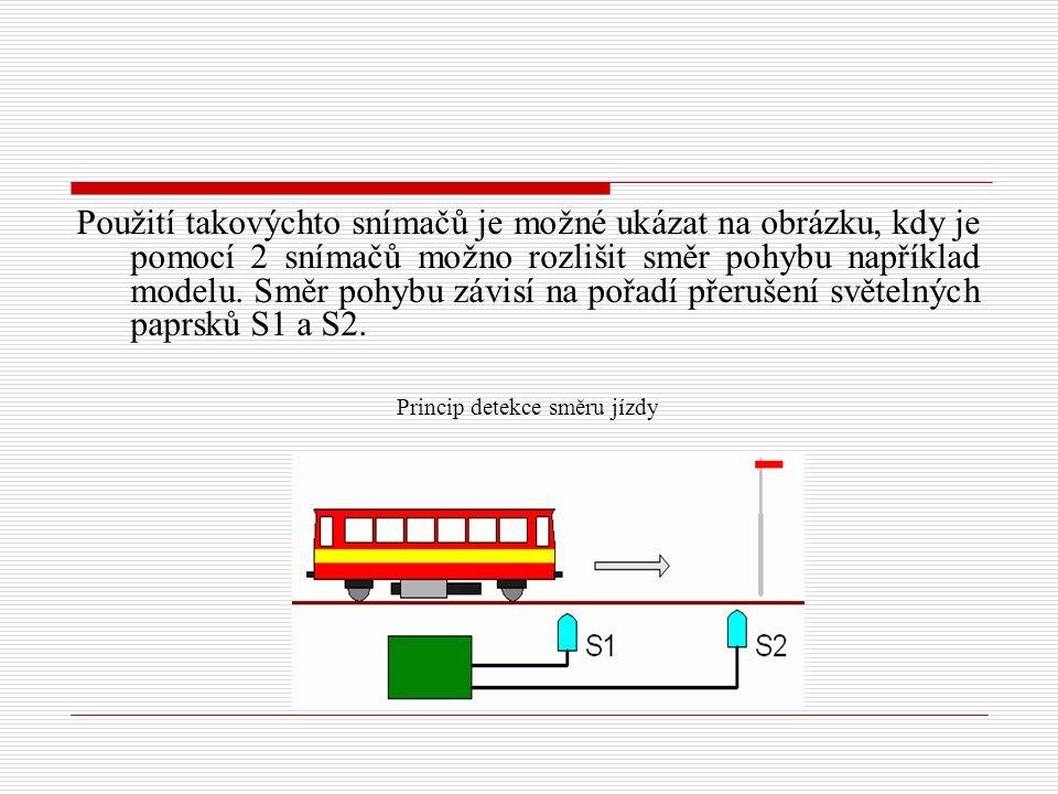 Použití takovýchto snímačů je možné ukázat na obrázku, kdy je pomocí 2 snímačů možno rozlišit směr pohybu například modelu. Směr pohybu závisí na pořa