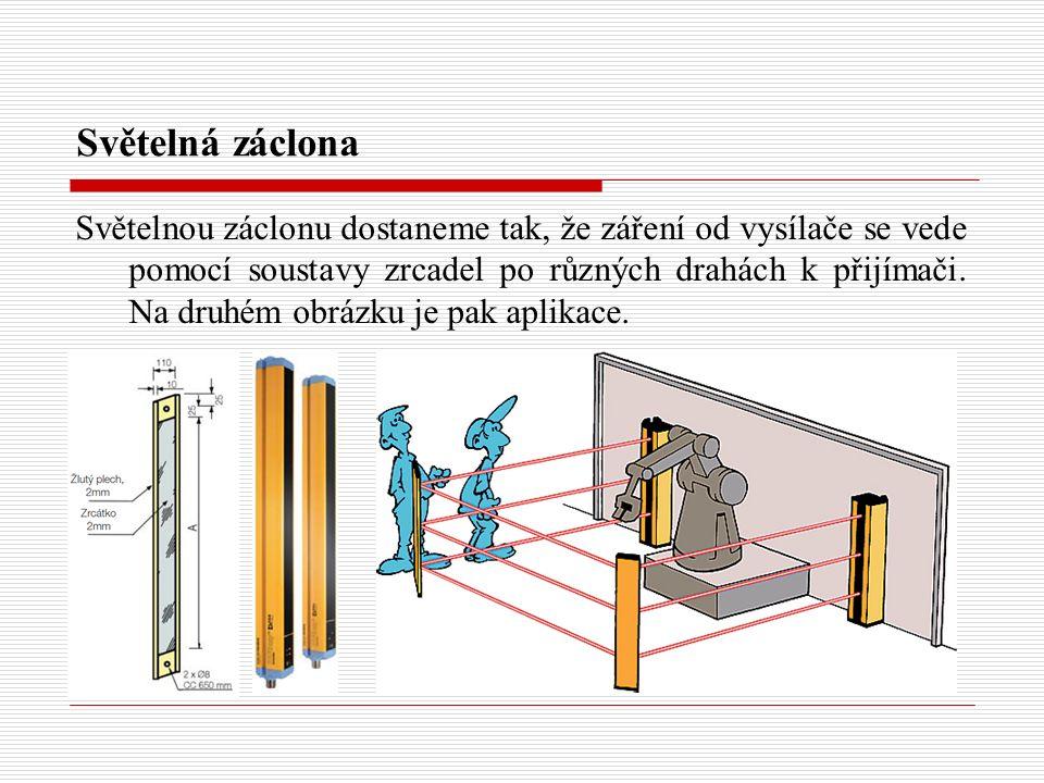 Světelná záclona Světelnou záclonu dostaneme tak, že záření od vysílače se vede pomocí soustavy zrcadel po různých drahách k přijímači.