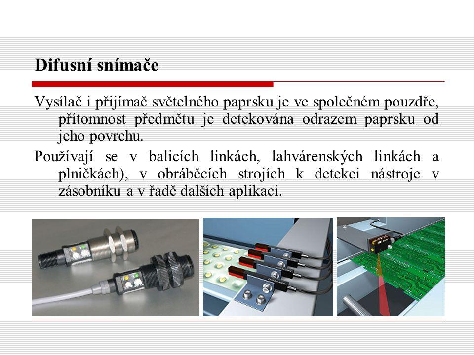 Difusní snímače Vysílač i přijímač světelného paprsku je ve společném pouzdře, přítomnost předmětu je detekována odrazem paprsku od jeho povrchu. Použ