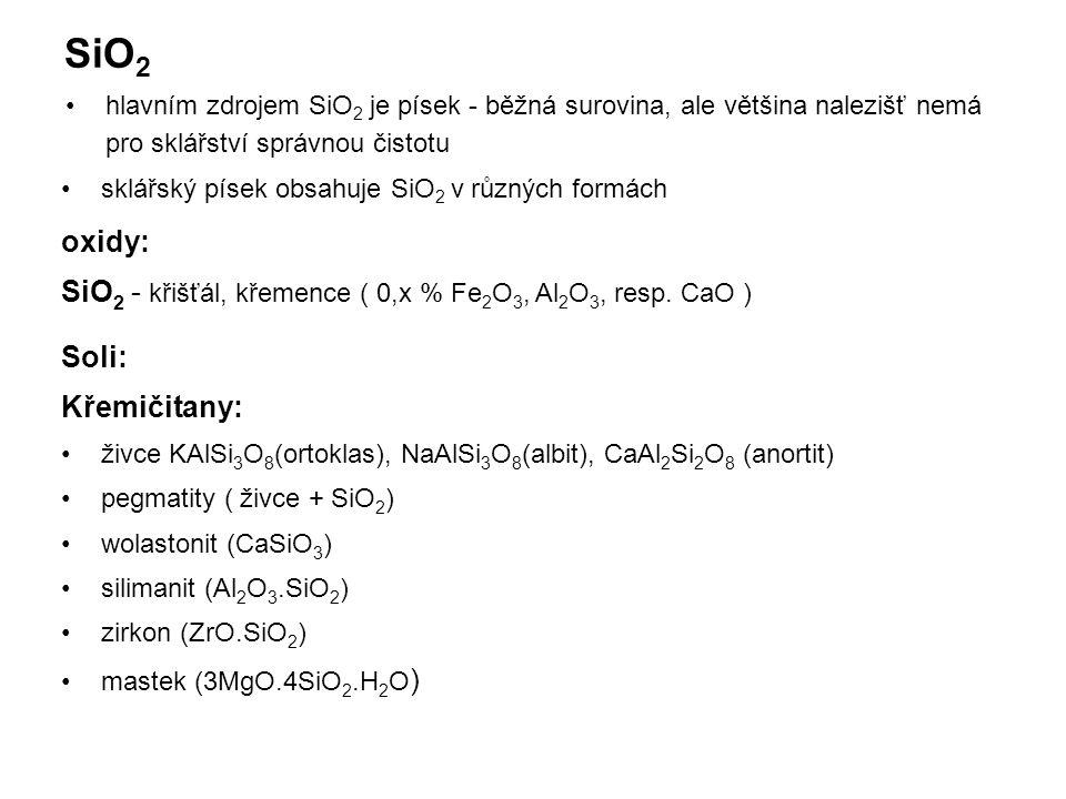 SiO 2 hlavním zdrojem SiO 2 je písek - běžná surovina, ale většina nalezišť nemá pro sklářství správnou čistotu sklářský písek obsahuje SiO 2 v různých formách oxidy: SiO 2 - křišťál, křemence ( 0,x % Fe 2 O 3, Al 2 O 3, resp.