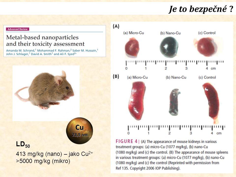 Je to bezpečné ? ledvina slezina Cu 23,5 nm LD 50 413 mg/kg (nano) – jako Cu 2+ >5000 mg/kg (mikro) (A) (B)