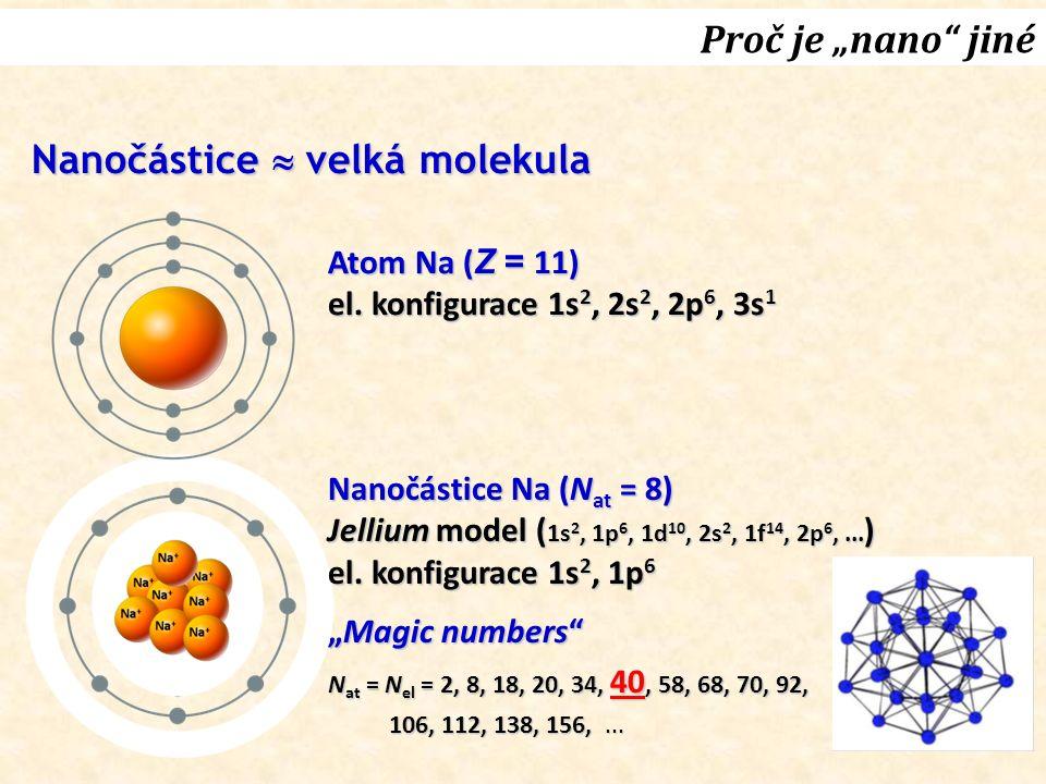 "Proč je ""nano"" jiné Atom Na ( Z = 11) el. konfigurace 1s 2, 2s 2, 2p 6, 3s 1 Nanočástice Na (N at = 8) Jellium model ( 1s 2, 1p 6, 1d 10, 2s 2, 1f 14,"
