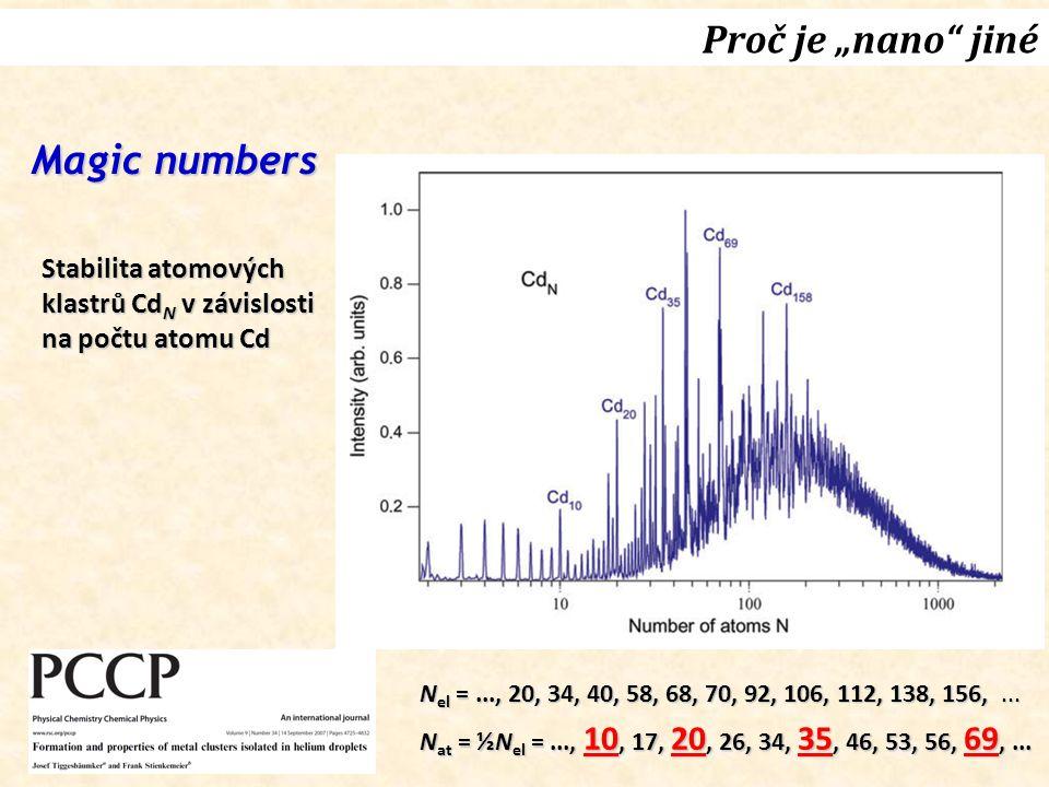 """Proč je """"nano"""" jiné N el =..., 20, 34, 40, 58, 68, 70, 92, 106, 112, 138, 156,... N at = ½N el =..., 10, 17, 20, 26, 34, 35, 46, 53, 56, 69,... Magic"""