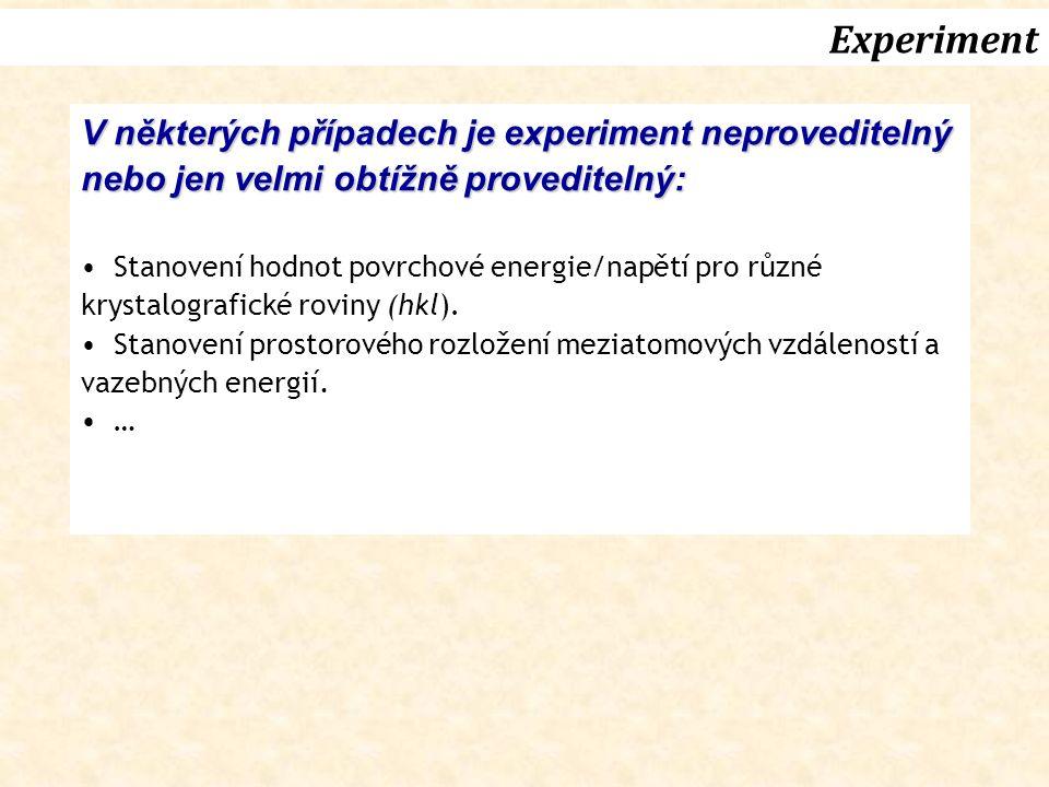 Experiment V některých případech je experiment neproveditelný nebo jen velmi obtížně proveditelný: Stanovení hodnot povrchové energie/napětí pro různé krystalografické roviny (hkl).