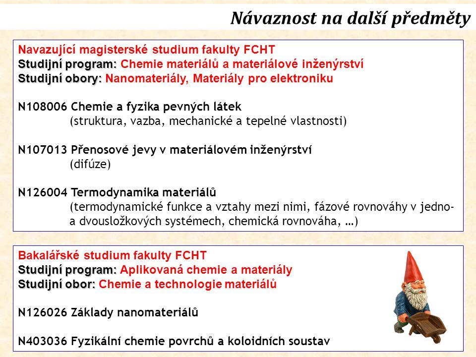 Návaznost na další předměty Navazující magisterské studium fakulty FCHT Studijní program: Studijní program: Chemie materiálů a materiálové inženýrství Studijní obory: Studijní obory: Nanomateriály, Materiály pro elektroniku N108006 Chemie a fyzika pevných látek (struktura, vazba, mechanické a tepelné vlastnosti) N107013 Přenosové jevy v materiálovém inženýrství (difúze) N126004 Termodynamika materiálů (termodynamické funkce a vztahy mezi nimi, fázové rovnováhy v jedno- a dvousložkových systémech, chemická rovnováha, …) Bakalářské studium fakulty FCHT Studijní program: Studijní program: Aplikovaná chemie a materiály Studijní obor: Studijní obor: Chemie a technologie materiálů N126026 Základy nanomateriálů N403036 Fyzikální chemie povrchů a koloidních soustav