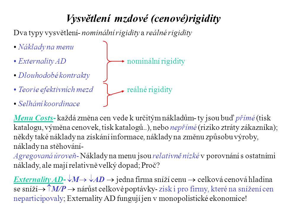 Vysvětlení mzdové (cenové)rigidity Dva typy vysvětlení- nominální rigidity a reálné rigidity Náklady na menu Externality ADnominální rigidity Dlouhodobé kontrakty Teorie efektivních mezdreálné rigidity Selhání koordinace Menu Costs- každá změna cen vede k určitým nákladům- ty jsou buď přímé (tisk katalogu, výměna cenovek, tisk katalogů..), nebo nepřímé (riziko ztráty zákazníka); někdy také náklady na získání informace, náklady na změnu způsobu výroby, náklady na stěhování- Agregovaná úroveň- Náklady na menu jsou relativně nízké v porovnání s ostatními náklady, ale mají relativně velký dopad; Proč.