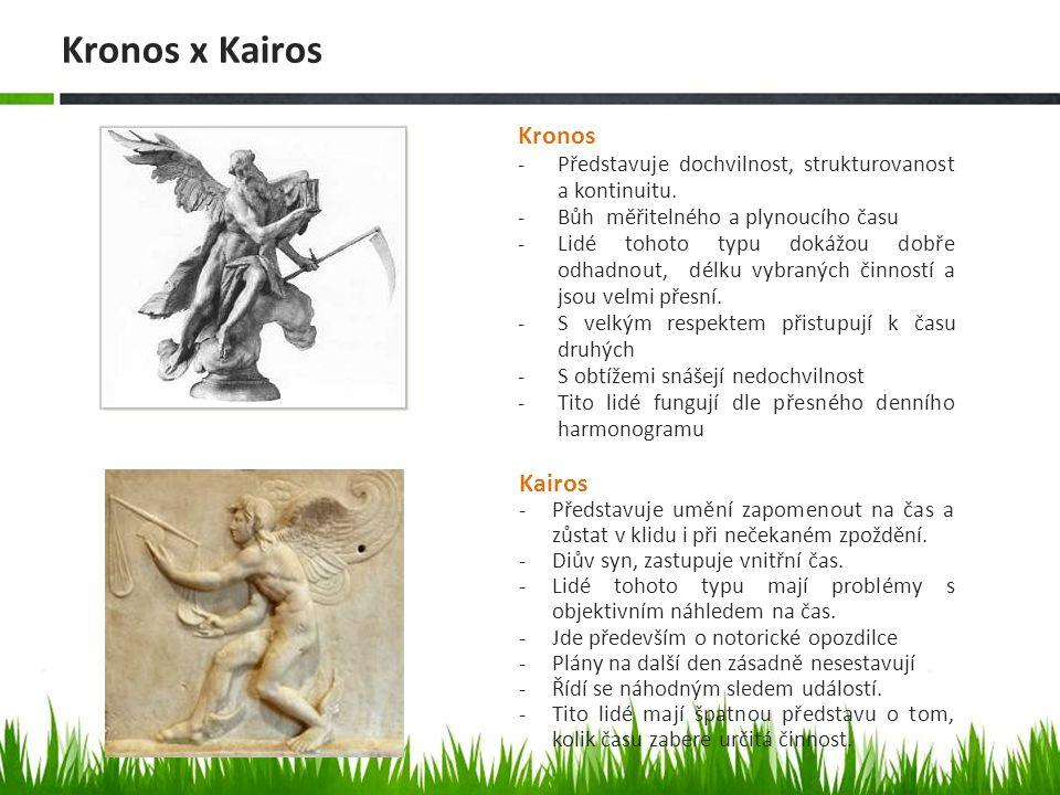 Kairos -Představuje umění zapomenout na čas a zůstat v klidu i při nečekaném zpoždění.