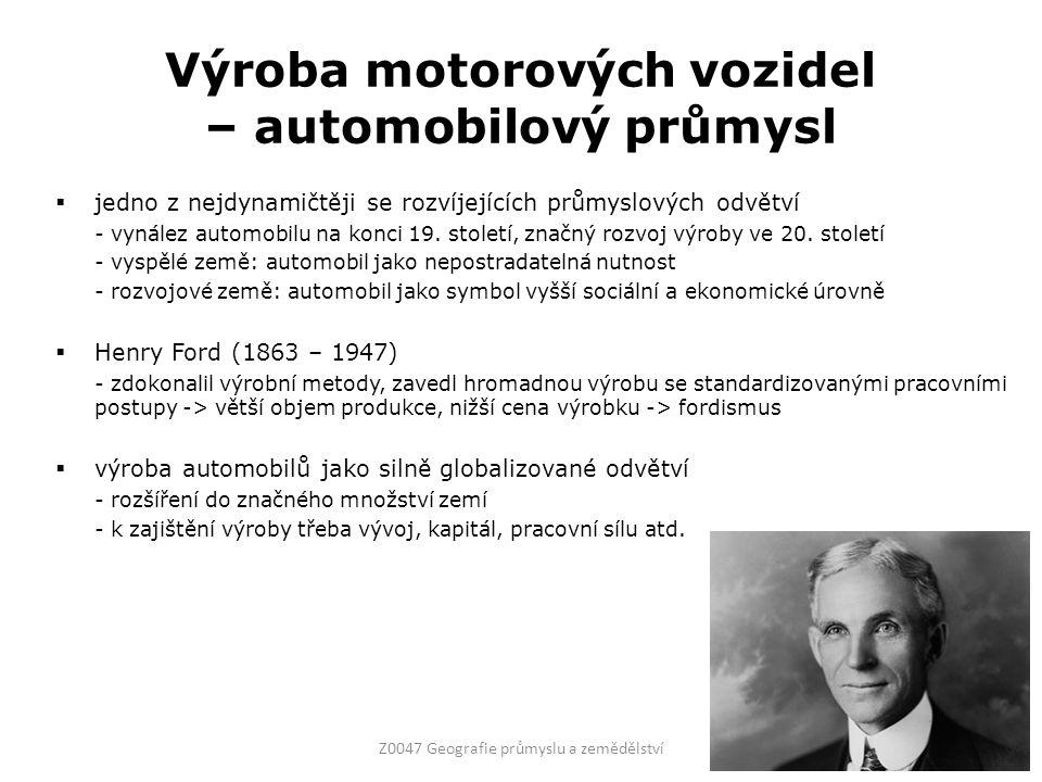 Výroba motorových vozidel – automobilový průmysl  jedno z nejdynamičtěji se rozvíjejících průmyslových odvětví - vynález automobilu na konci 19.