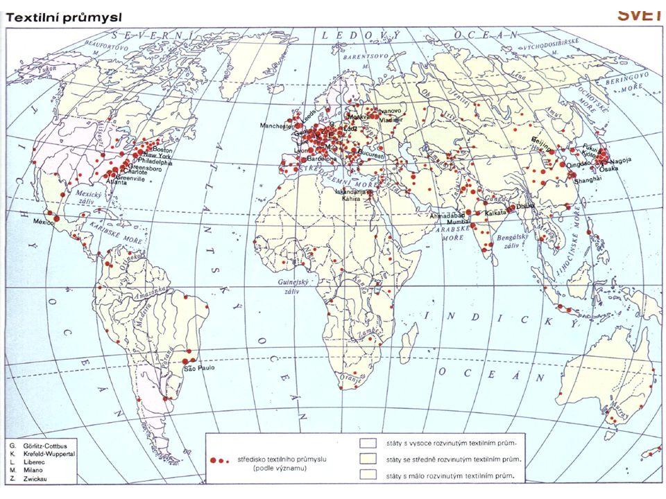 Hlavní světové textilní oblasti Z0047 Geografie průmyslu a zemědělství
